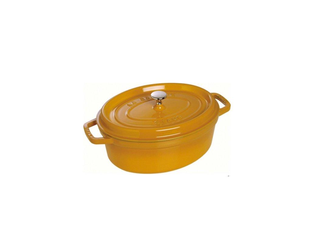 Hrnec oválný s poklicí Staub - hořčicová, 31cm, 5,5 litru