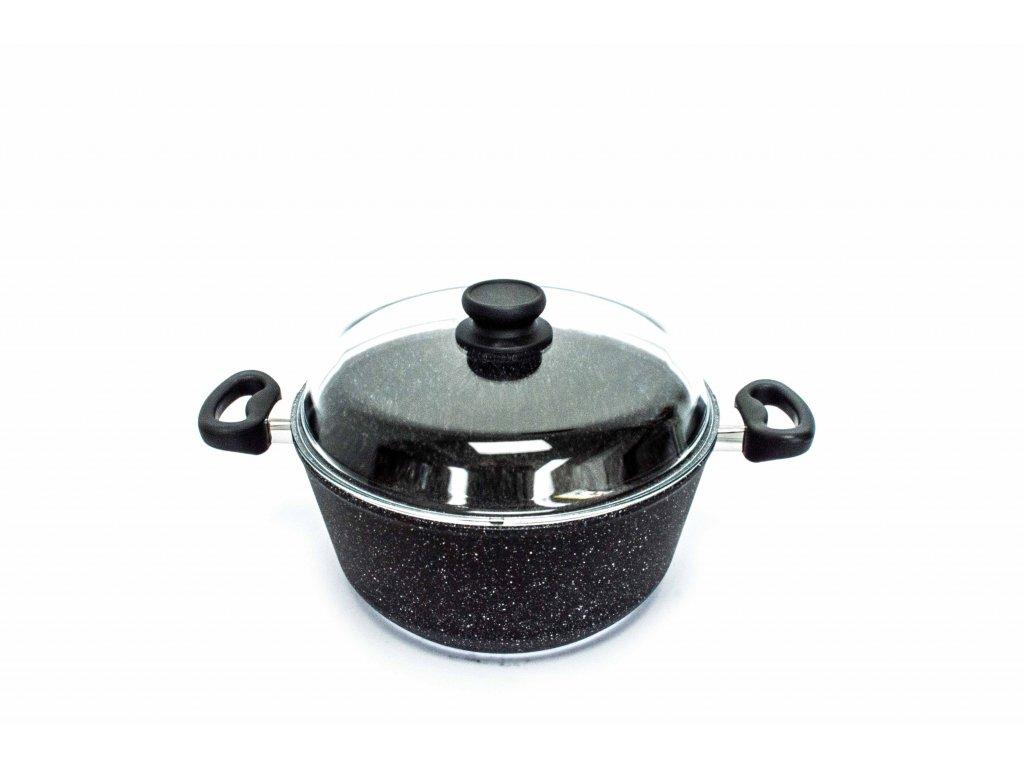 Polévkový hrnec velký PROTITAN linie GRANIT - černý, indukční, 6 litrů