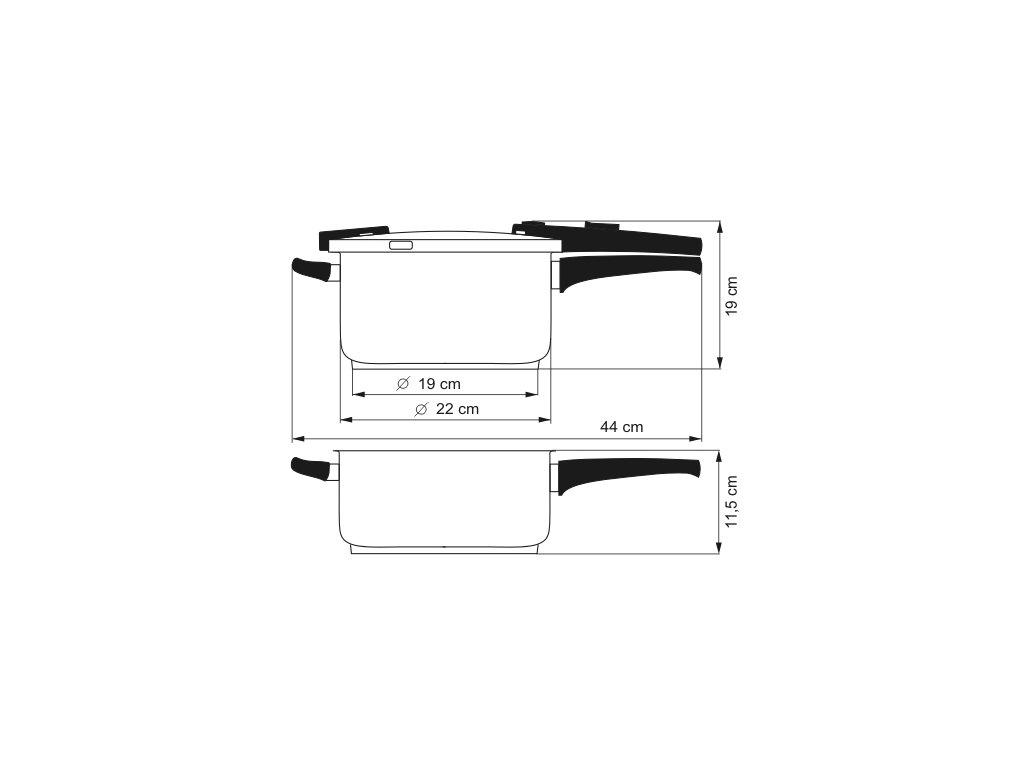 KOLIMAX BIOMAX sada tlakových hrnců 22cm 6,0l+4,0l