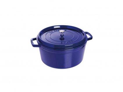Hrnec kulatý s poklicí - tmavě modrá , 28cm, 6,7 litru