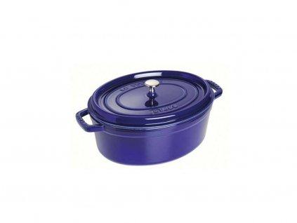 Hrnec oválný s poklicí Staub - tmavě modrá, 33cm, 6,7 litru