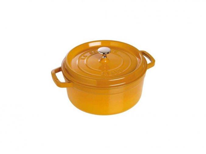 Staub hrnec kulatý s poklicí - hořčicová, 24cm, 3,8 litru