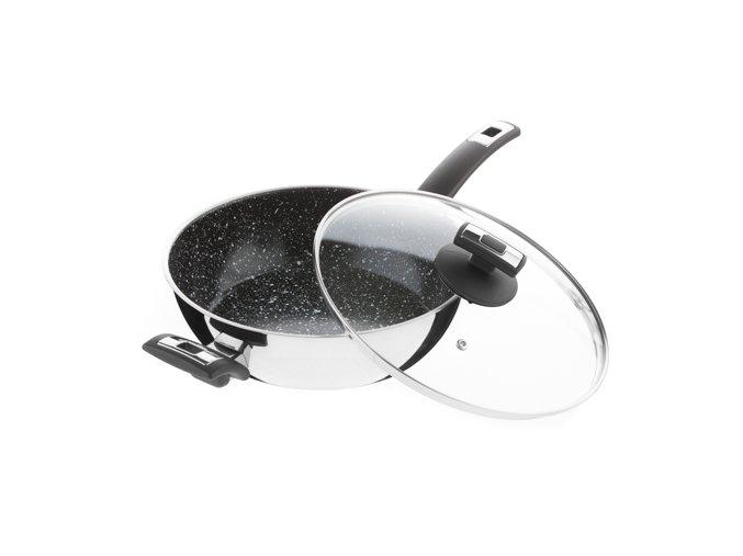 KOLIMAX CERAMMAX PRO COMFORT pánev 26 cm s rukojetí a úchytem, se skleněnou poklicí, vysoká, granit černá