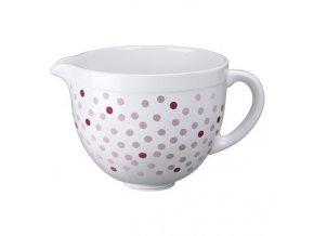 Keramická mísa KithenAid - bílá s růžovými puntíky