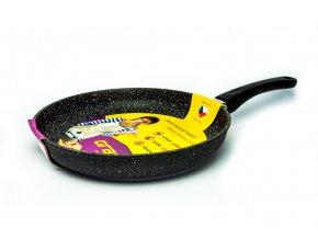 Pánev na omelety bez poklice Granit - černá, neindukční, průměr 28 cm, výška 5cm